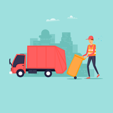 Garbage removal. Flat design vector illustration. Imagens - 94826325