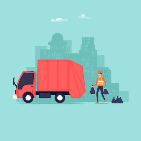 Le ramassage des poubelles. Illustration vectorielle design plat