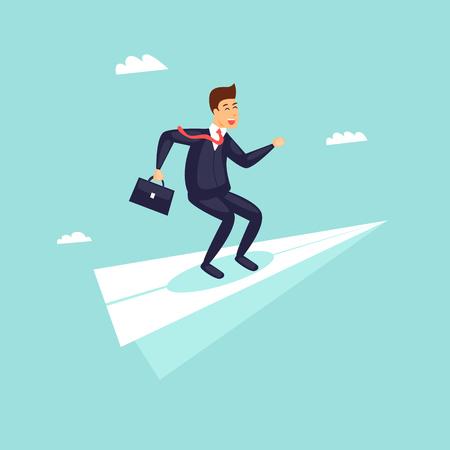 Success in business, businessman on an airplane flies upwards. Flat design vector illustration.