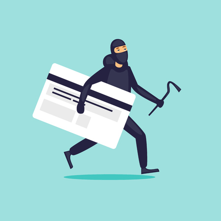 Stealing money from a card, a thief. Flat design vector illustration. Vectores