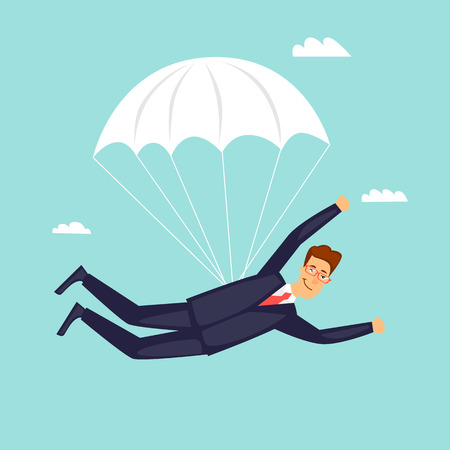 Businessman is flying on a parachute. Flat design vector illustration. Vectores