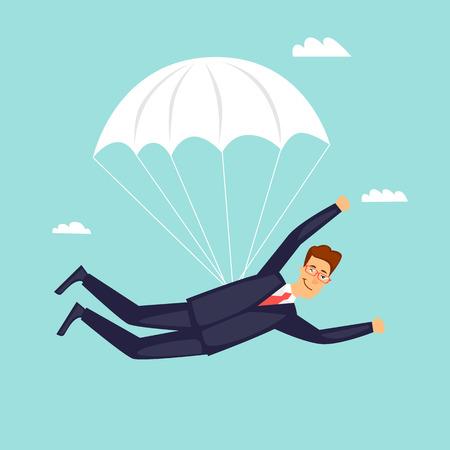 Businessman is flying on a parachute. Flat design vector illustration. Illustration