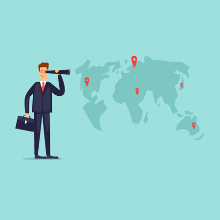 Businessman looking for a place for business. Flat design vector illustration.