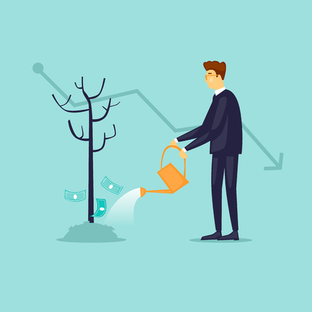 Crisis businessman watering a tree without money. Flat design vector illustration.