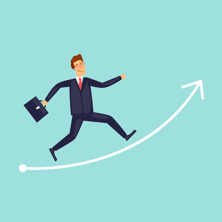 Businessman runs up arrow. Flat design vector illustration.