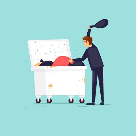 Businessman delves into the trash. Flat design vector illustration.