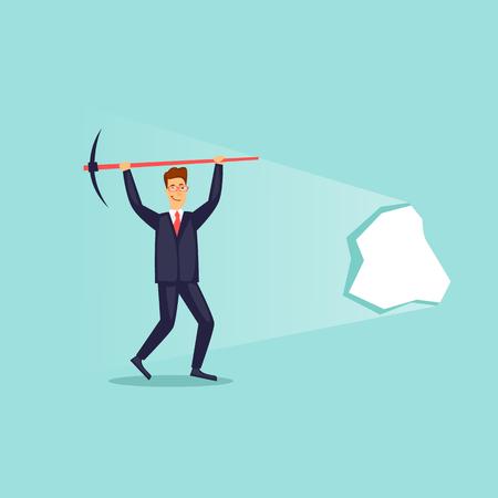 Homme d'affaires prospère a franchi le mur. Illustration vectorielle design plat. Banque d'images - 95439827
