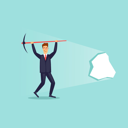 Successful businessman broke through the wall. Flat design vector illustration.