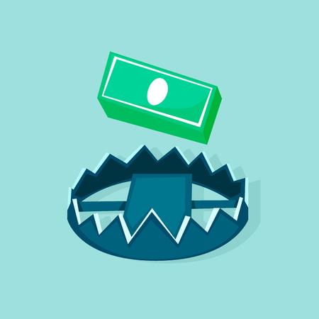 お金と罠。フラットデザインベクトルのイラスト。
