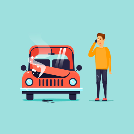 Breakdown of the car. Flat design vector illustration. Ilustrace