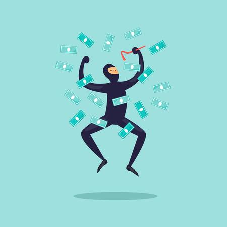 Joyful thief with money. Flat design vector illustration. Vettoriali