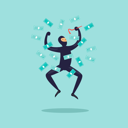 Joyful thief with money. Flat design vector illustration. Illustration