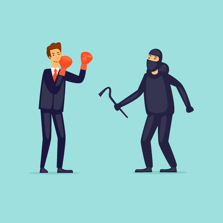 Protection of business from thieves. Flat design vector illustration.