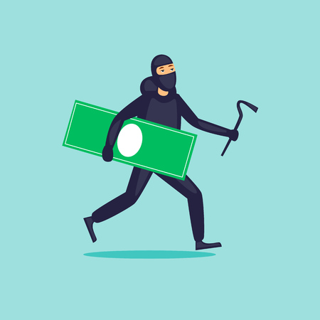 Thief runs with money. Flat design vector illustration.