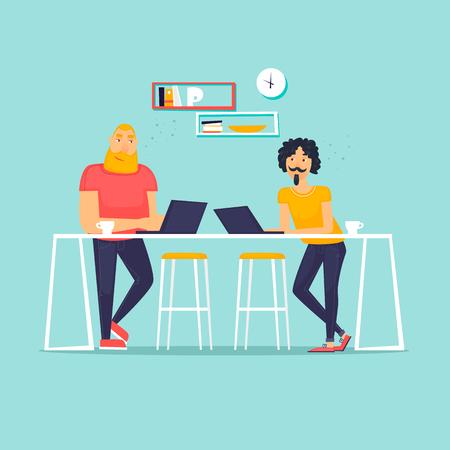 Co working people, Flat design vector illustration.