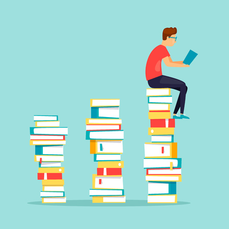 Man sitting on books reading. Flat design vector illustration. 向量圖像