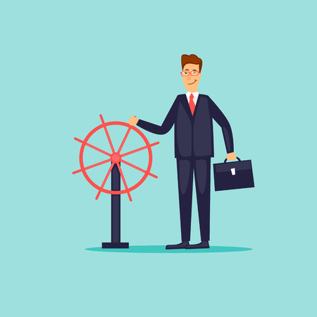 Businessman is holding the Steering Wheel. Flat design vector illustration.