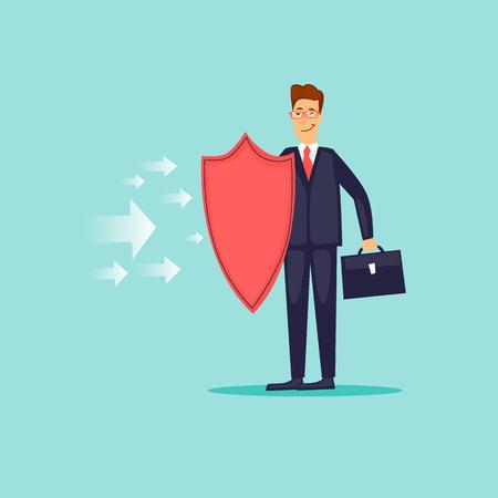 Businessman holding a protective shield. Flat design vector illustration.