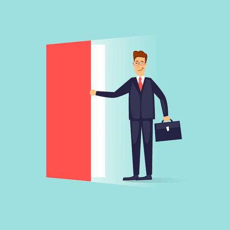 Businessman opens the door. Flat design vector illustration.