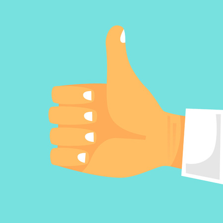 Thumbs up flat design vector illustration.