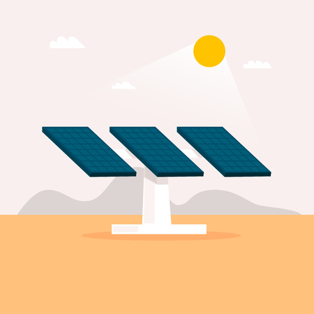 Alternative energy sources. Solar panels. Flat design vector illustration. Banque d'images - 95816175