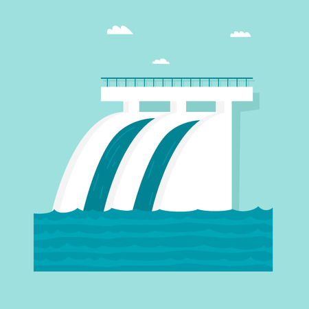Alternative energy sources. Hydroelectric power station. Flat design vector illustration.