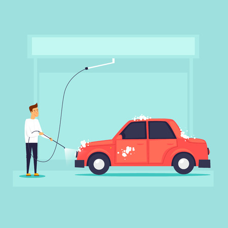 Car wash. Flat design vector illustration. Archivio Fotografico - 95816178