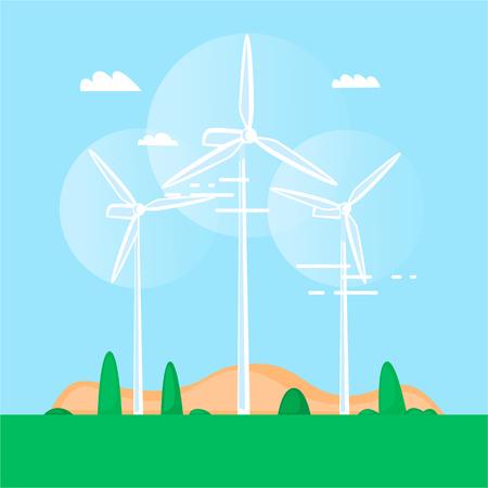 Alternative energy sources. Wind turbine. Windmills. Flat design vector illustration.