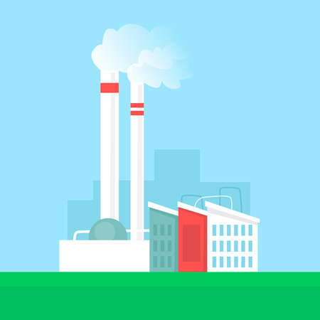 Alternative energy sources , buildings and factory. Flat design vector illustration.