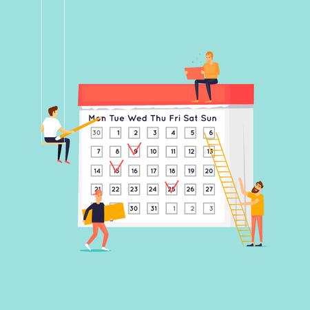 計画の概念 、 ユーザーはカレンダーに計画をマークします。フラットデザインベクトルのイラスト。