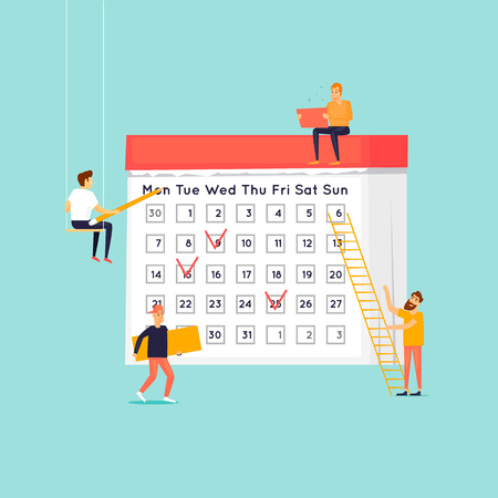 Planning concept , people mark plans on the calendar. Flat design vector illustration.