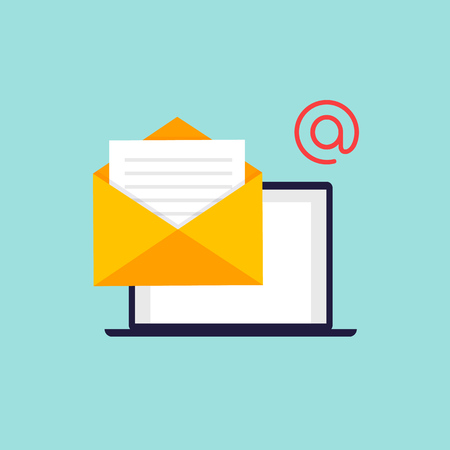 Email support. Flat design vector illustration.