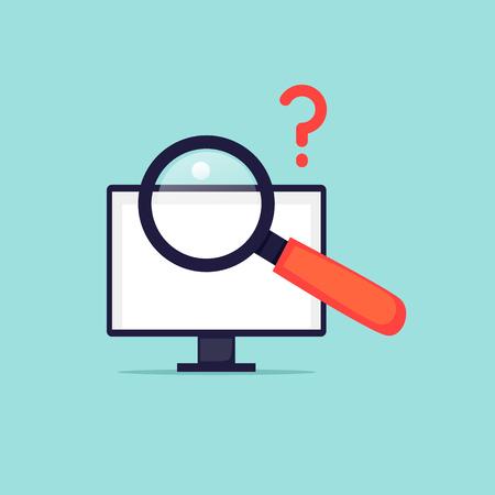 Job search on the Internet. Flat design vector illustration.