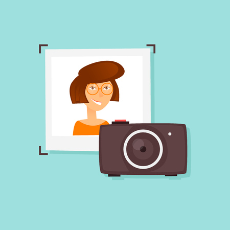 Photos of girl and camera. Flat design vector illustration.