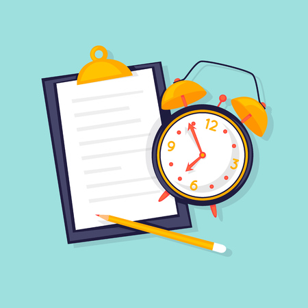 Planning, alarm and clipboard with plan. Flat design vector illustration.