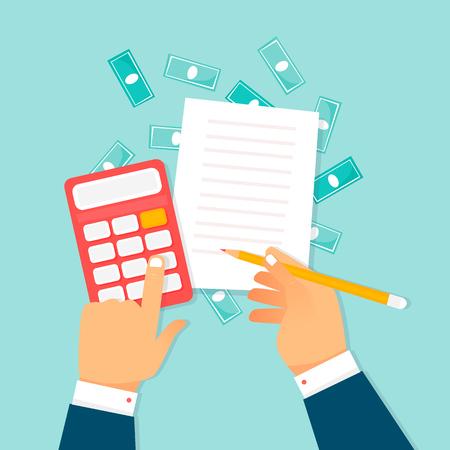 Économie, calculs, mains avec une calculatrice et argent. Illustration vectorielle design plat.