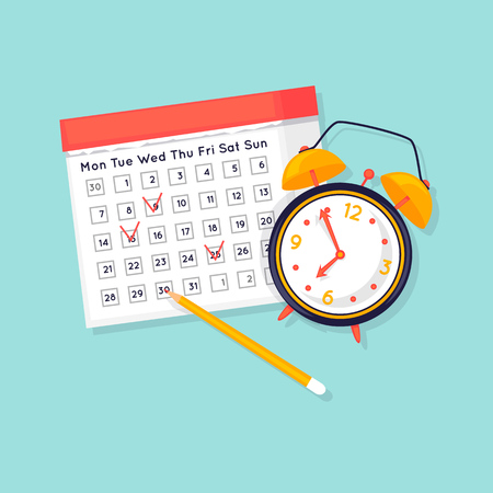 Planning, calendar with a clock. Flat design vector illustration.