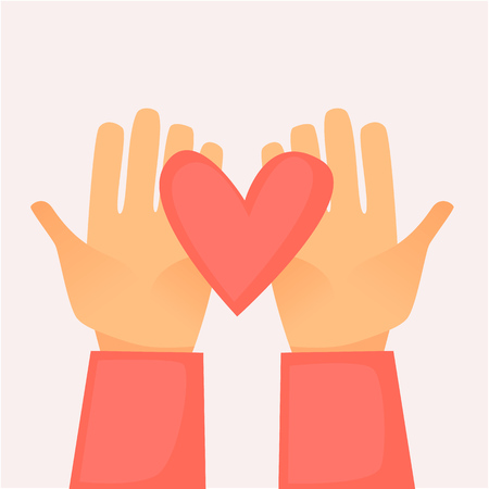 Hands holding a heart on  Flat design vector illustration.
