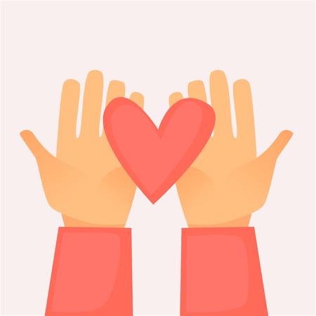 Hands holding a heart on  Flat design vector illustration.