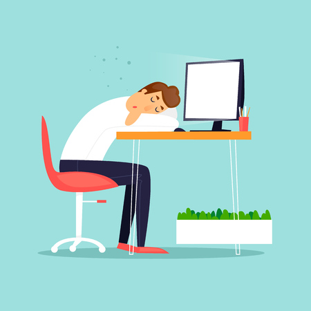Businessman fell asleep in the workplace. Business characters. Workplace. Office life. Flat design vector illustration.