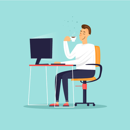 Businessman drinks coffee. Business characters. Workplace. Office life. Flat design vector illustration. Vectores