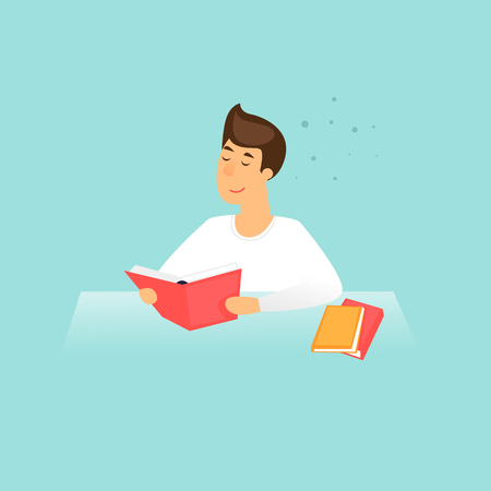 Student prepares for exams, education, training courses, internet studying, online book. Flat design vector illustration.