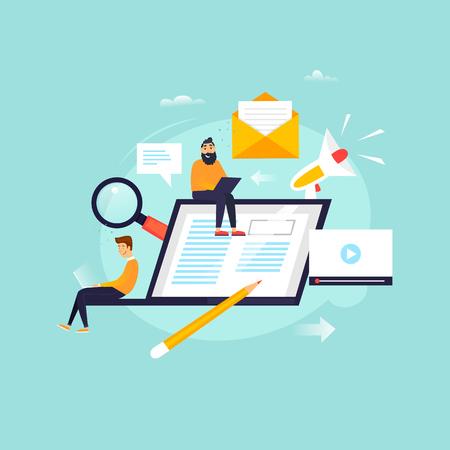 News online, newspaper, information. Flat design vector illustration.  イラスト・ベクター素材