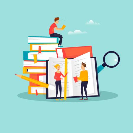 Educación en línea, cursos de formación, tutoriales, estudios a distancia, e-learning. Diseño plano ilustración vectorial.