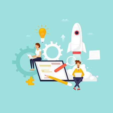 Startup, programmer, business project, idea, project management. Flat design vector illustration.
