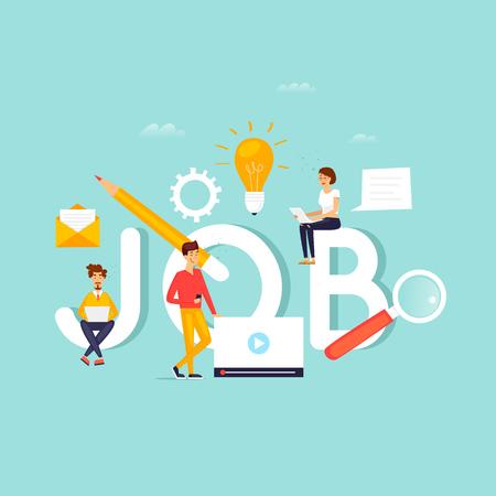 Jobsuche, Karriere, Freiberufler, Beschäftigung, Rekrutierung. Inschriftenarbeit und Menschen. Flaches Design Vektor-Illustration.