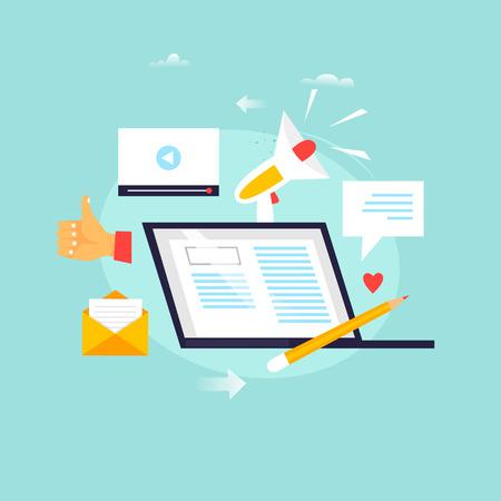 Blogging ,writing articles, copywriting, tutorials, seminars, education. Flat design vector illustration.