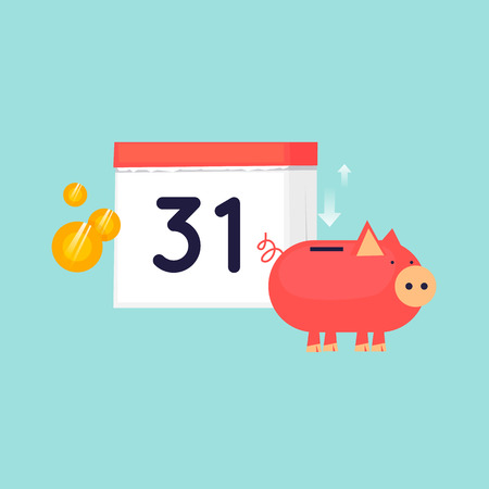 Financial calendar, budget planning. Flat design vector illustration.