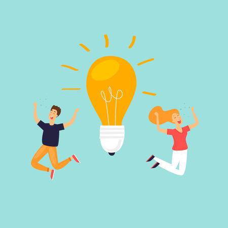 Idea, success in business, happy people. Flat design vector illustration.