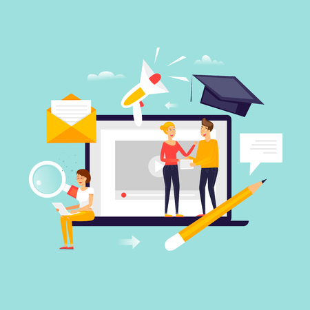 Online education. Courses, trainings. Flat design vector illustration.